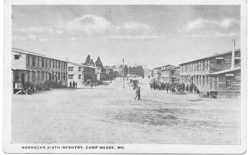 314th Infantry Barracks at Camp Meade MD Maryland Postcard