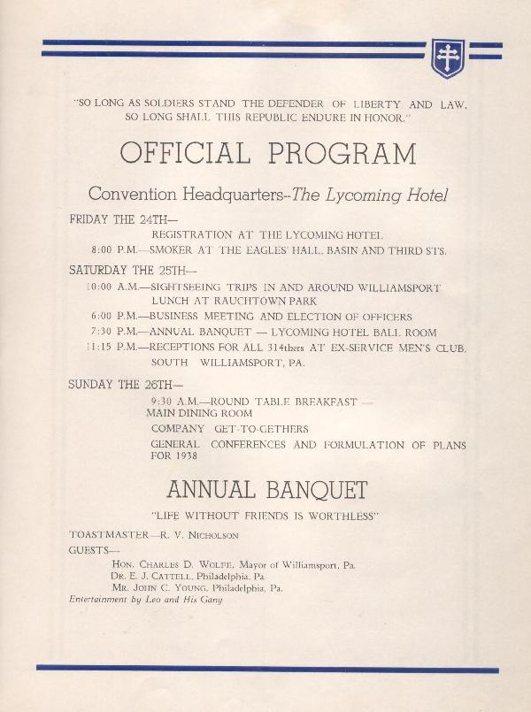 314th Infantry Regiment A.E.F. - Nineteenth Annual Reunion - 1937 - Page 17