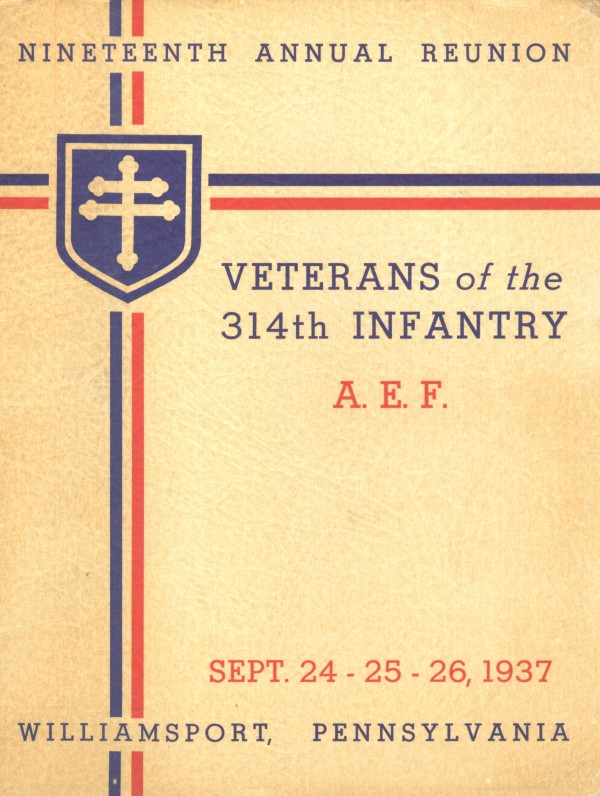 314th Infantry Regiment A.E.F. - Nineteenth Annual Reunion - 1937 - Front Cover