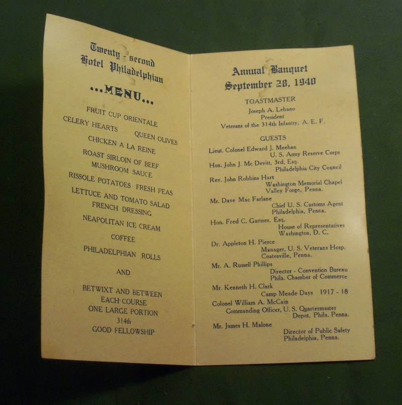 Veterans 314th Infantry Regiment A.E.F. - 1940 Reunion Pamphlet - photo 4 - 800 pixels