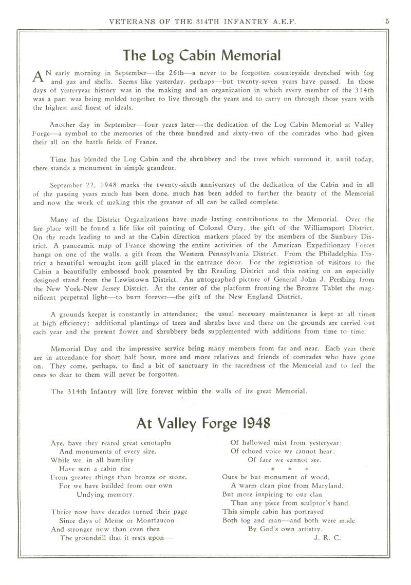 Veterans 314th Infantry Regiment A.E.F. - 1948 Reunion - Memorial Booklet and Directory - Page 05
