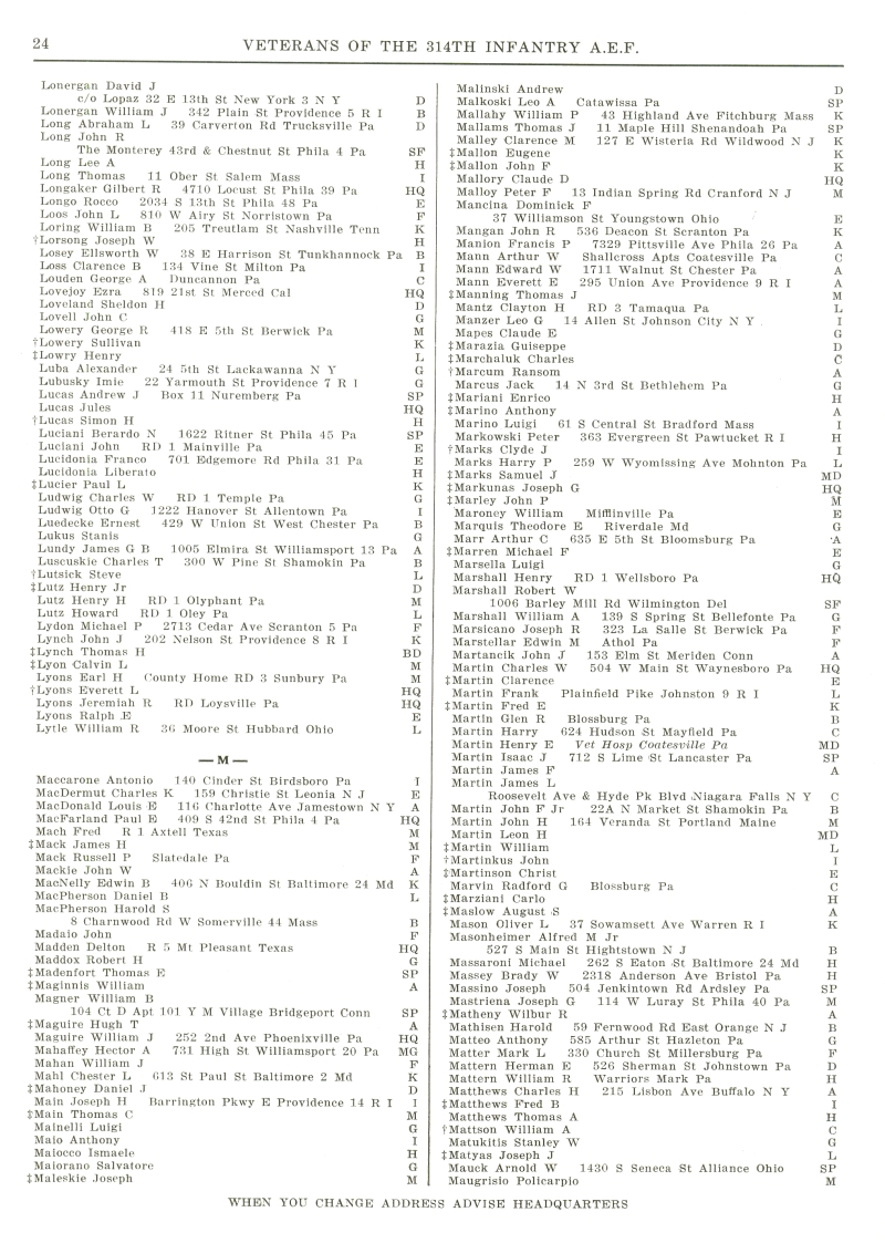 Veterans 314th Infantry Regiment A.E.F. - 1948 Reunion - Memorial Booklet and Directory - Page 24