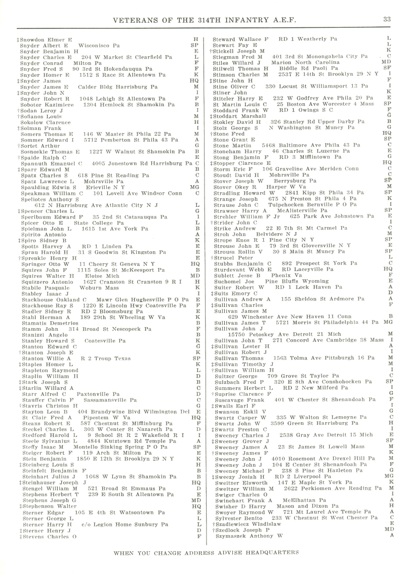 Veterans 314th Infantry Regiment A.E.F. - 1948 Reunion - Memorial Booklet and Directory - Page 33