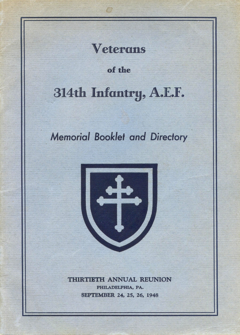 Veterans 314th Infantry Regiment A.E.F. - 1948 Reunion - Memorial Booklet and Directory - Cover