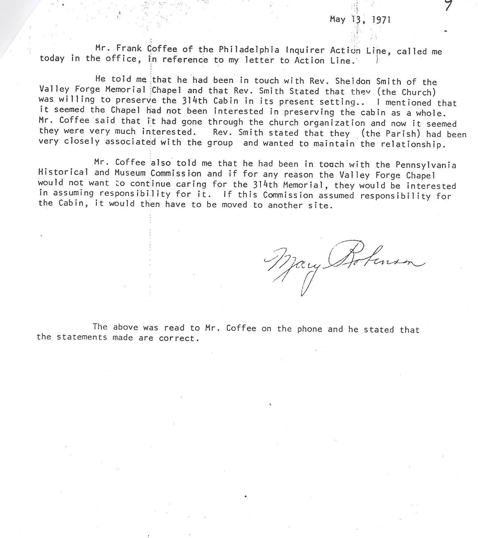 Log Cabin Memorial - Veterans 314th Infantry Regiment A.E.F. - Mary E. Robinson Letter - 1970 - Page 5