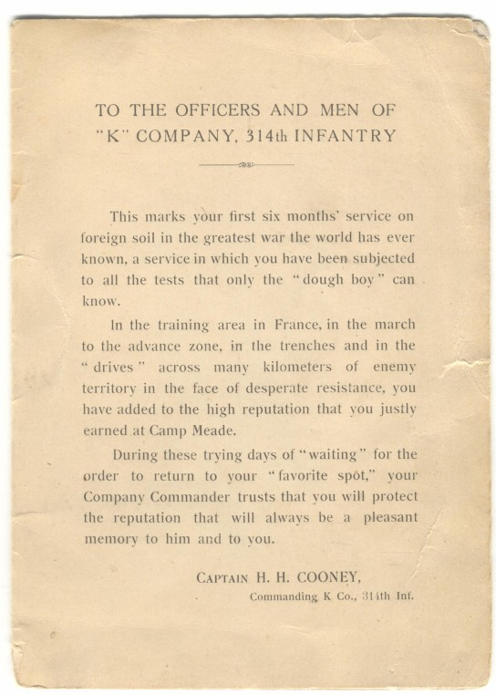 314th Infantry WWI Company K Pamphlet 15 Jan 1919 Inside Page