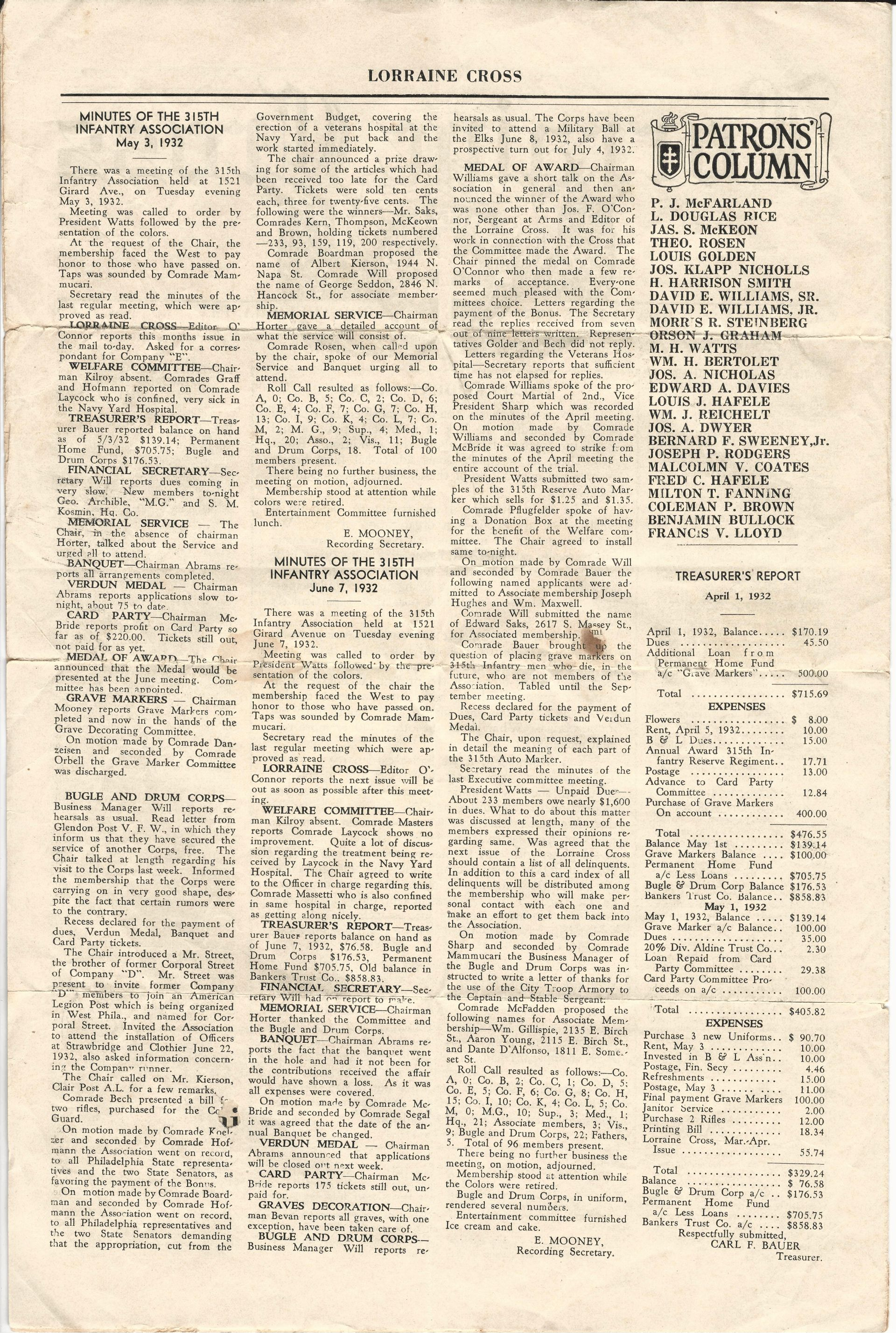 Lorraine Cross newsletter of the 315th Infantry Association (Philadelphia Pennsylvania) May-June 1932 - page 2