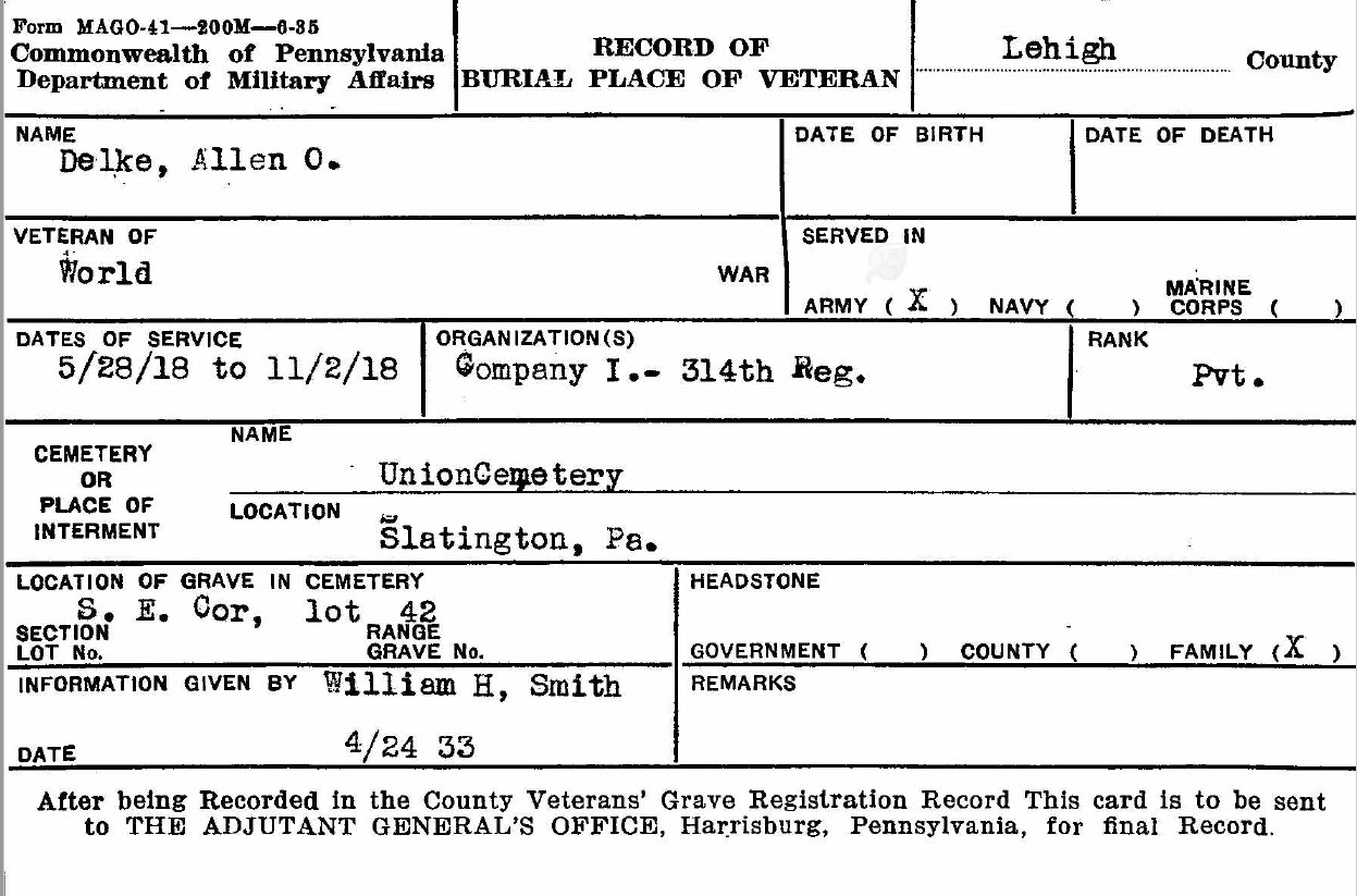 Allen Delke KIA - Company I 314th Infantry - Veteran Burial Card