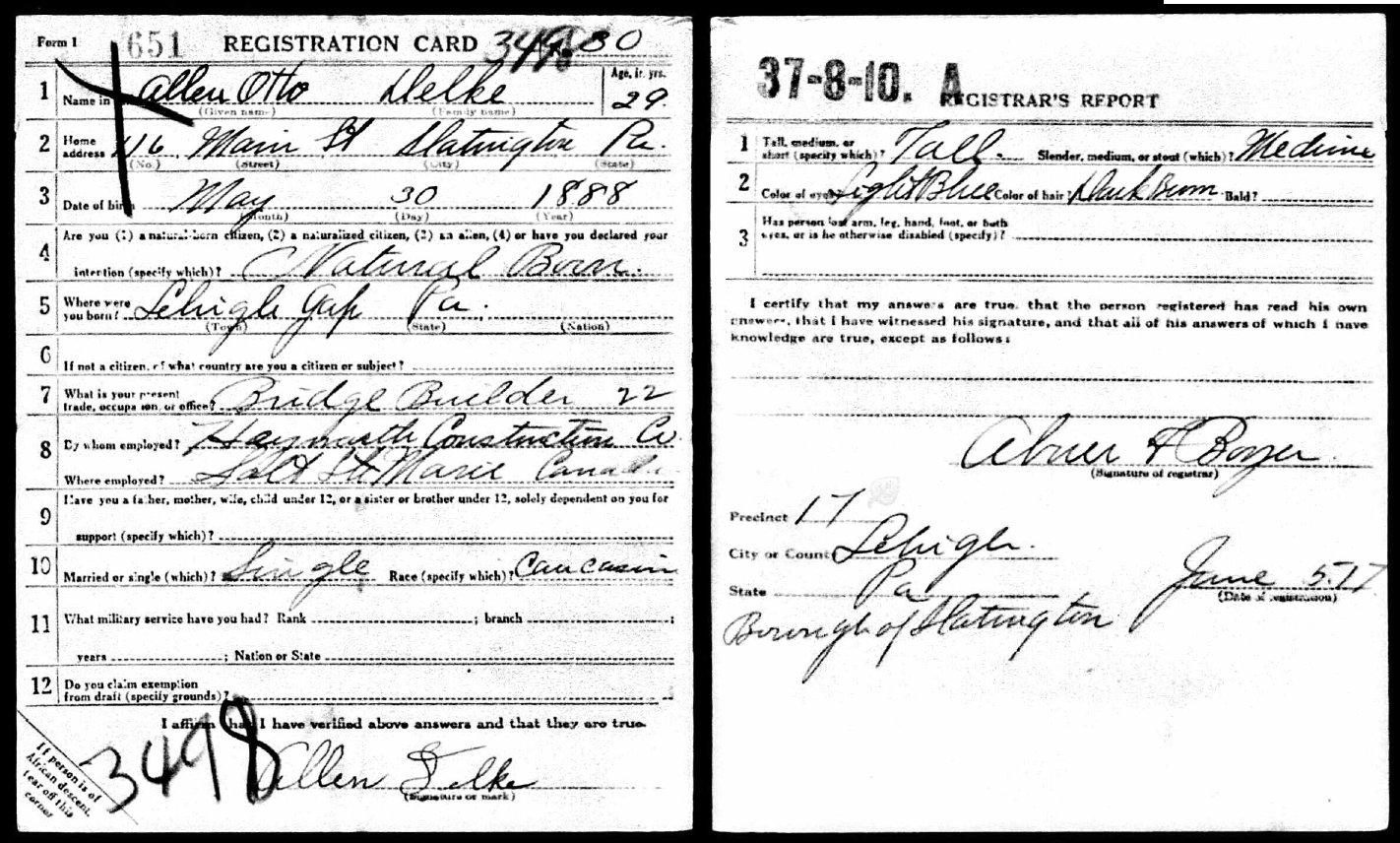 Allen Delke KIA - Company I 314th Infantry - Draft Registration Card