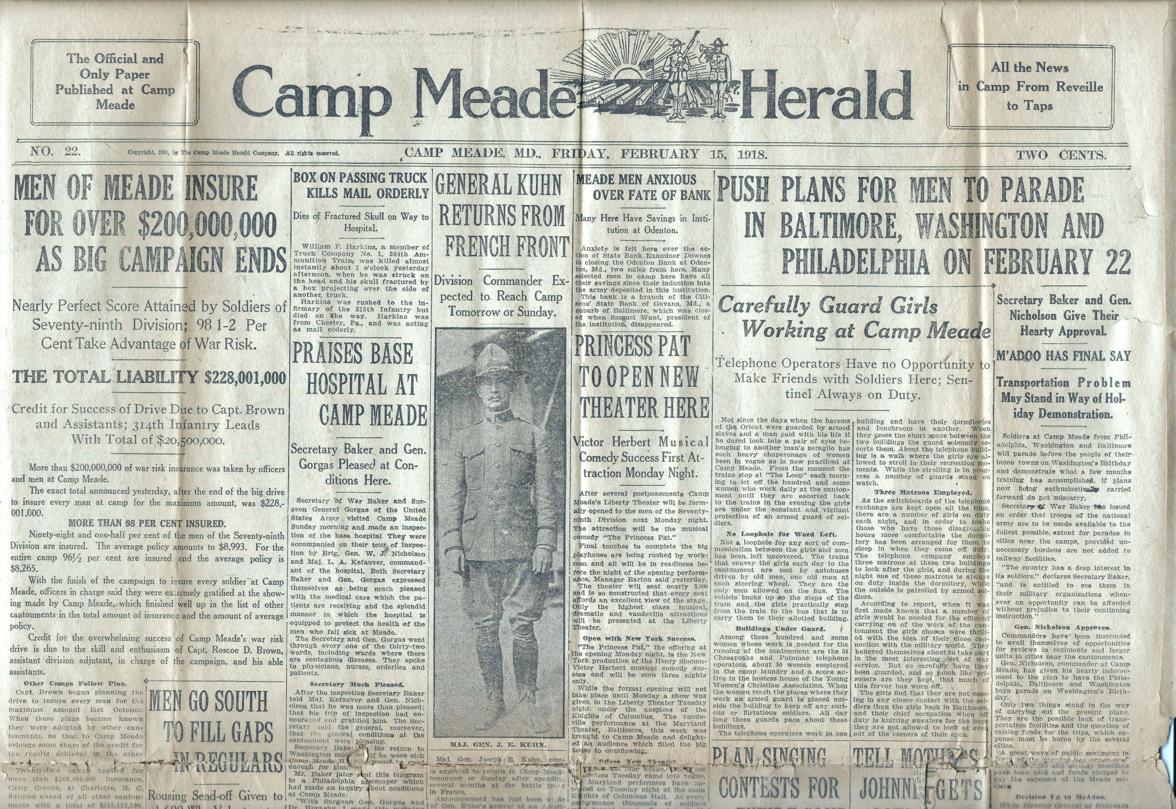 Camp Meade Herald newspaper - February 15 1918 - Page 1 Top