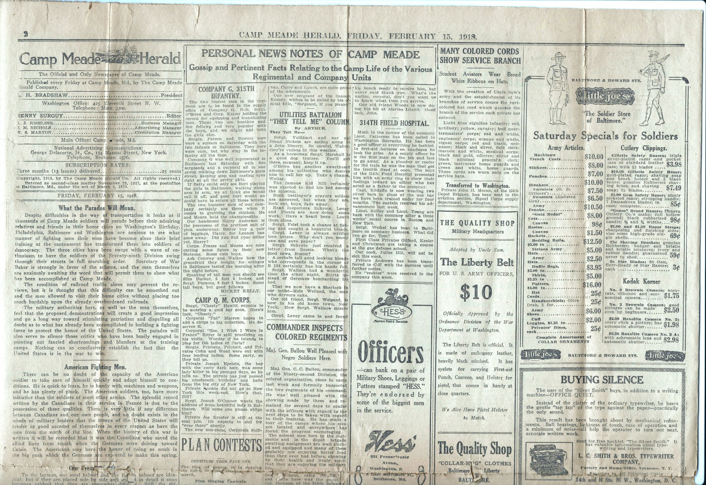 Camp Meade Herald newspaper - February 15 1918 - Page 2 Top