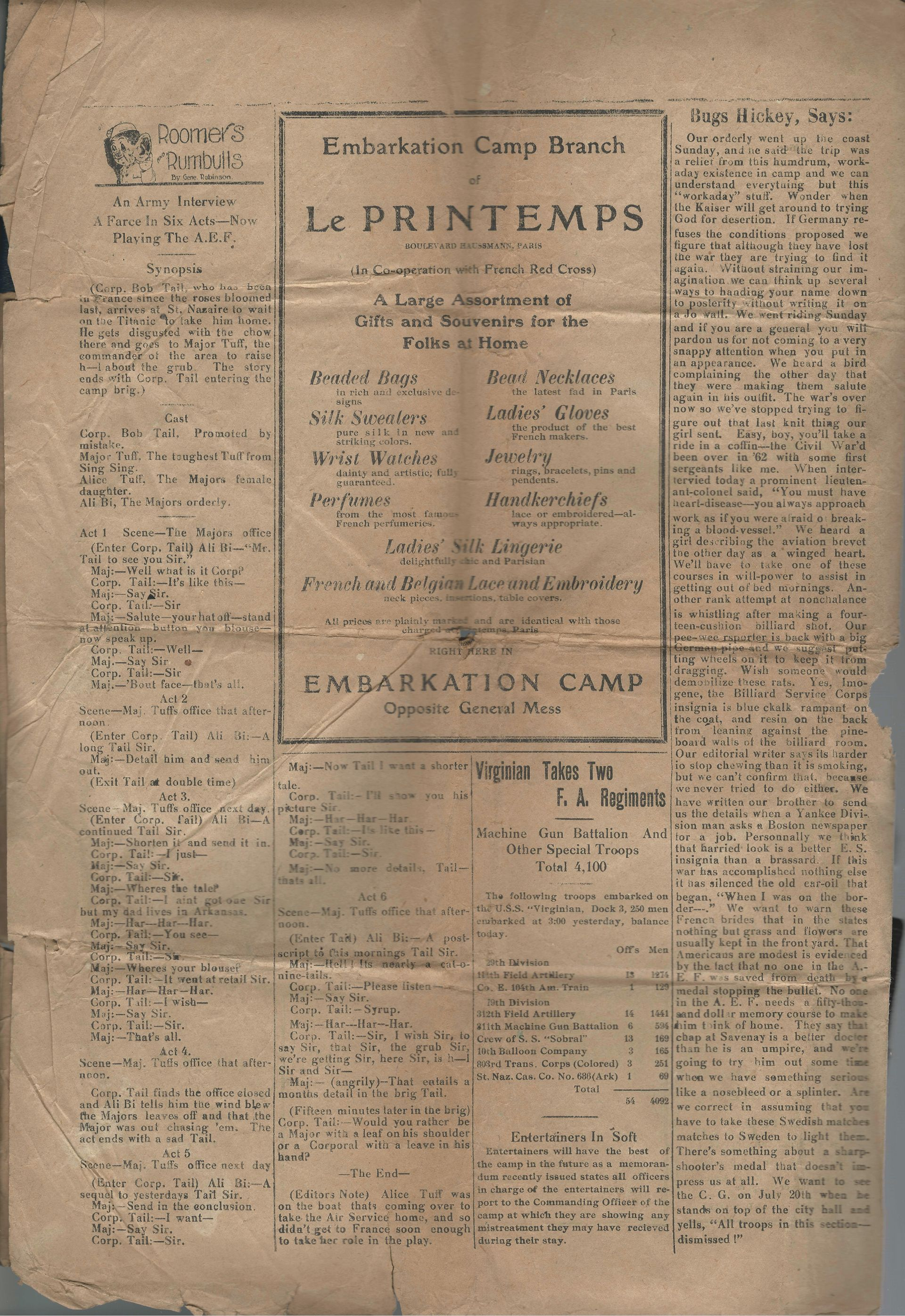 The Gangplank News - Newspaper - No. 31 - Embarkation Camp - St. Nazaire, France - May 13, 1919 - Page 4
