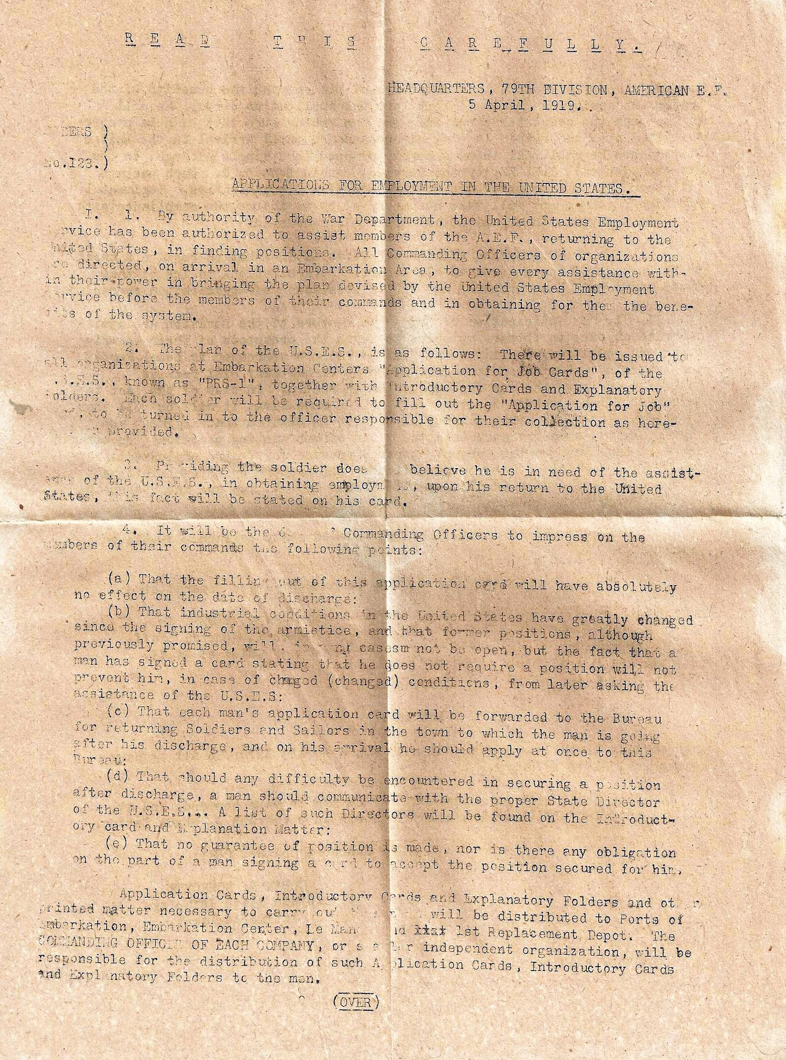 James M. Draper - Machine Gun Company - 314th Infantry 79th Division A.E.F. - Application for Employment - 1 of 2
