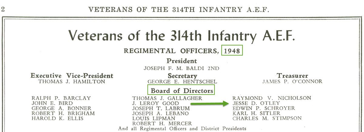 Jesse Otley - 314th Infantry - 1948 Board of Directors