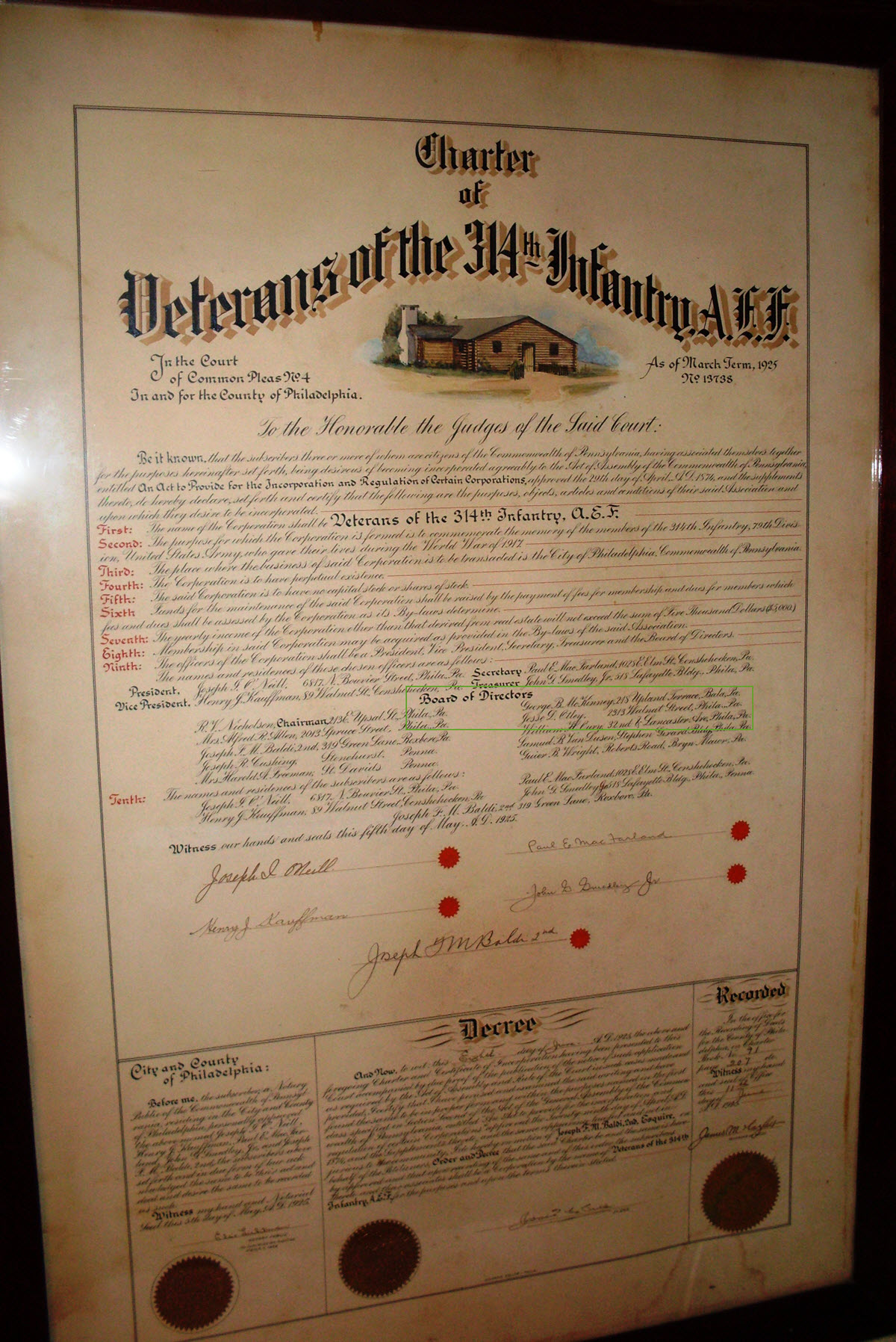 Jesse Otley - 314th Infantry - 1925 Charter