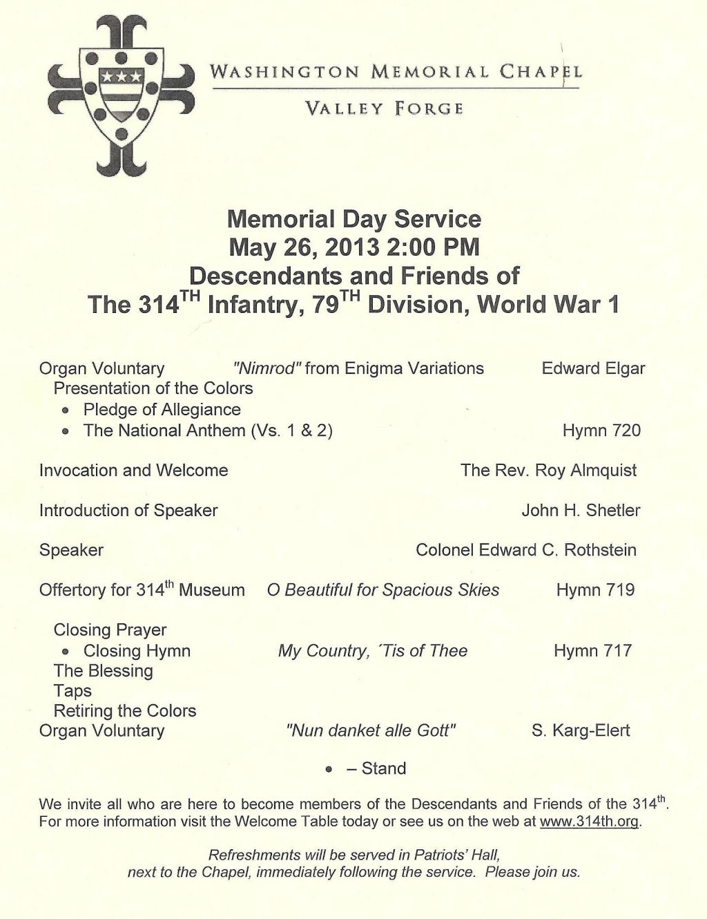 314th Infantry - 2013 Memorial Day Program - Page 1