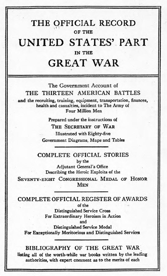 Official Record of the United States part in the Great War - Title Page