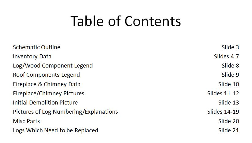 314th Memorial Log Cabin - Table of Contents - Village Restorations - Powerpoint - November 2012