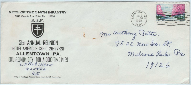 Envelope for the 1969 Annual Reunion #51 of the Veterans of the 314th Infantry