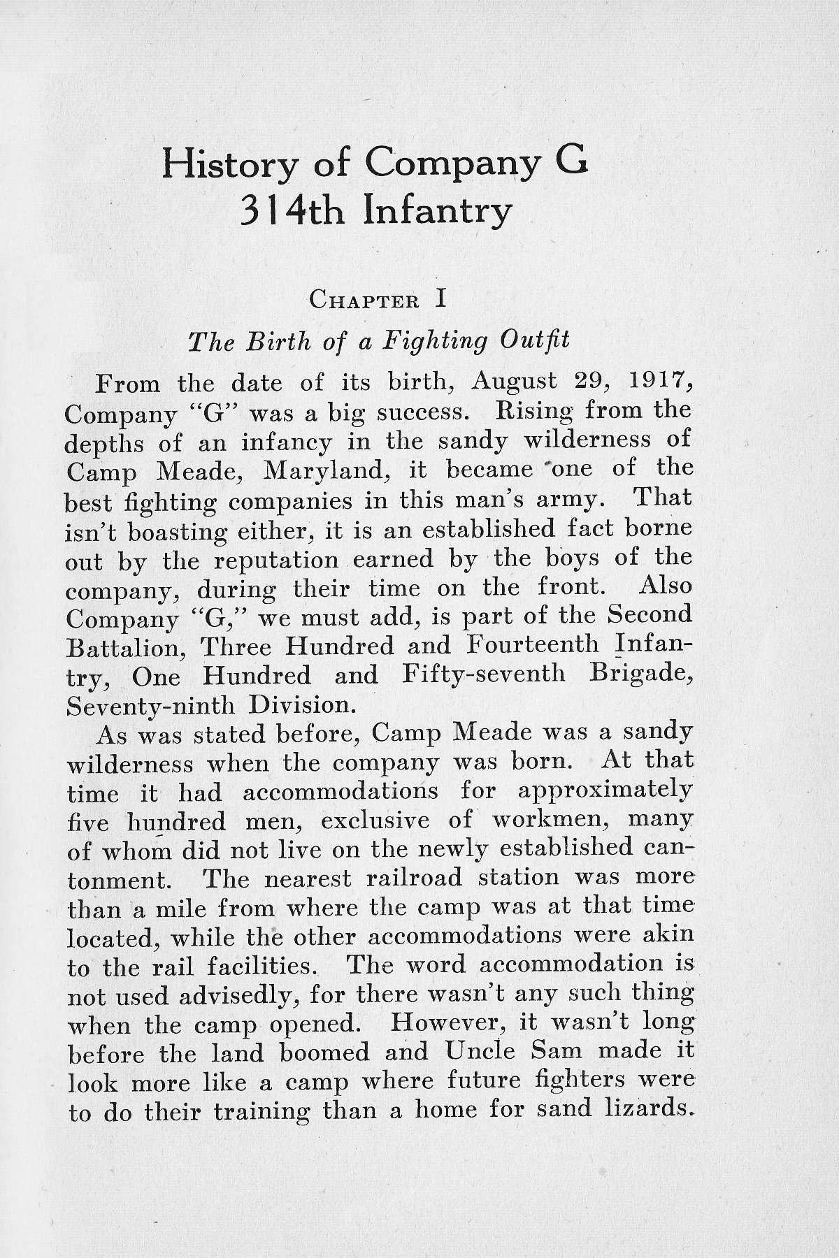 History of Company G 314th Infanty - Page 001