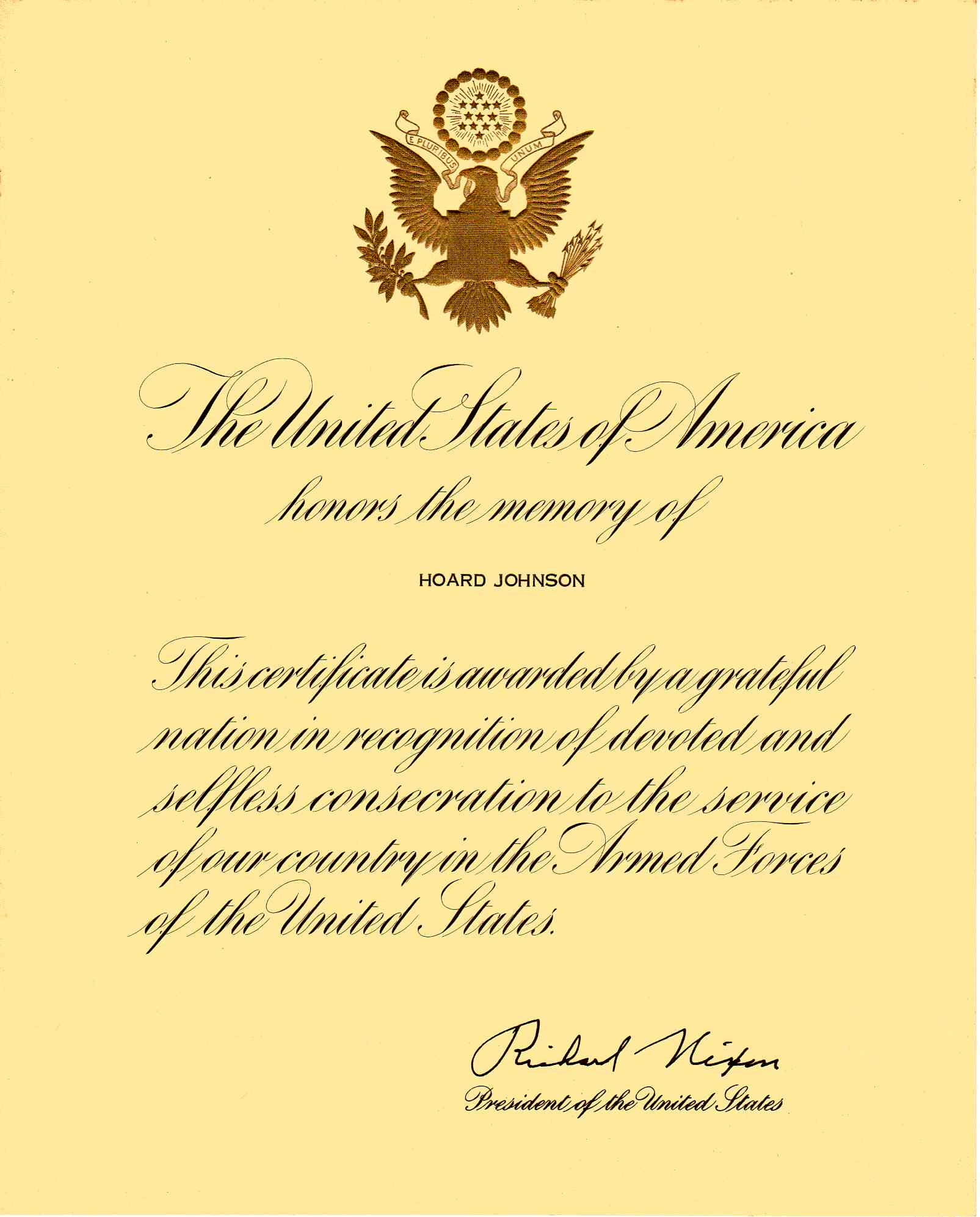 Hoard Johnson Letter from President Nixon