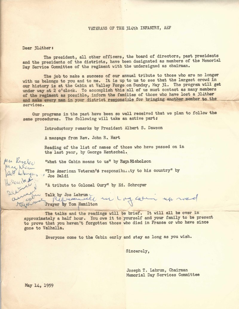 314th Infantry A.E.F. - May 14, 1959 - letter concerning upcoming 1959 annual reunion