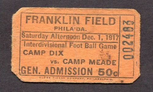 December 1, 1917 Franklin Field Interdivisional Foot Ball Camp Dix vs Camp Meade - Front