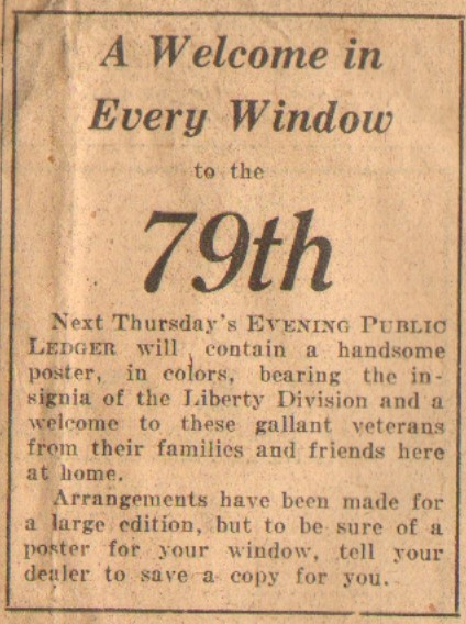 Evening Public Ledger Newspaper - May 27 1919 - A Welcome in Every Window to the 79th Division