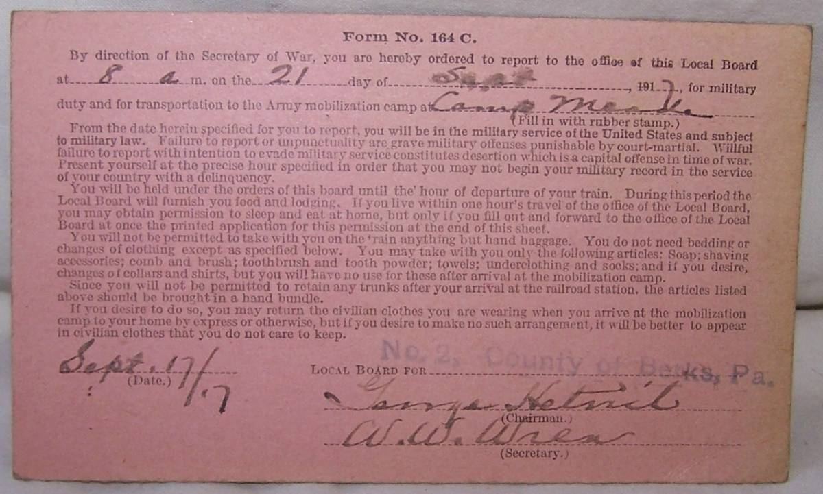 War Department Form 164-C Dated Sept 17, 1917 to report for Camp Meade Sept 21, 1917 - back of postcard