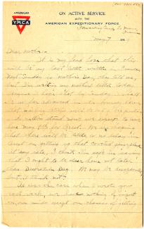 Gilder Lehrman Institute of American History - Lawrence Hopkins - Mothers Day 1919 - Letter Home from France
