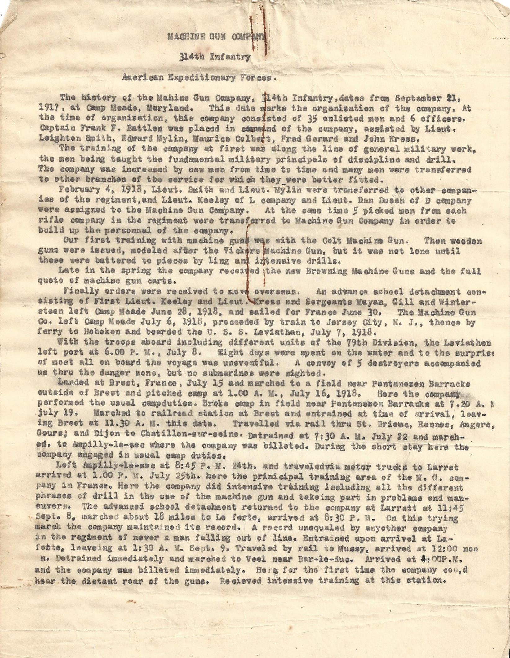 MG Company 314th Infantry AEF typewritten history page 1
