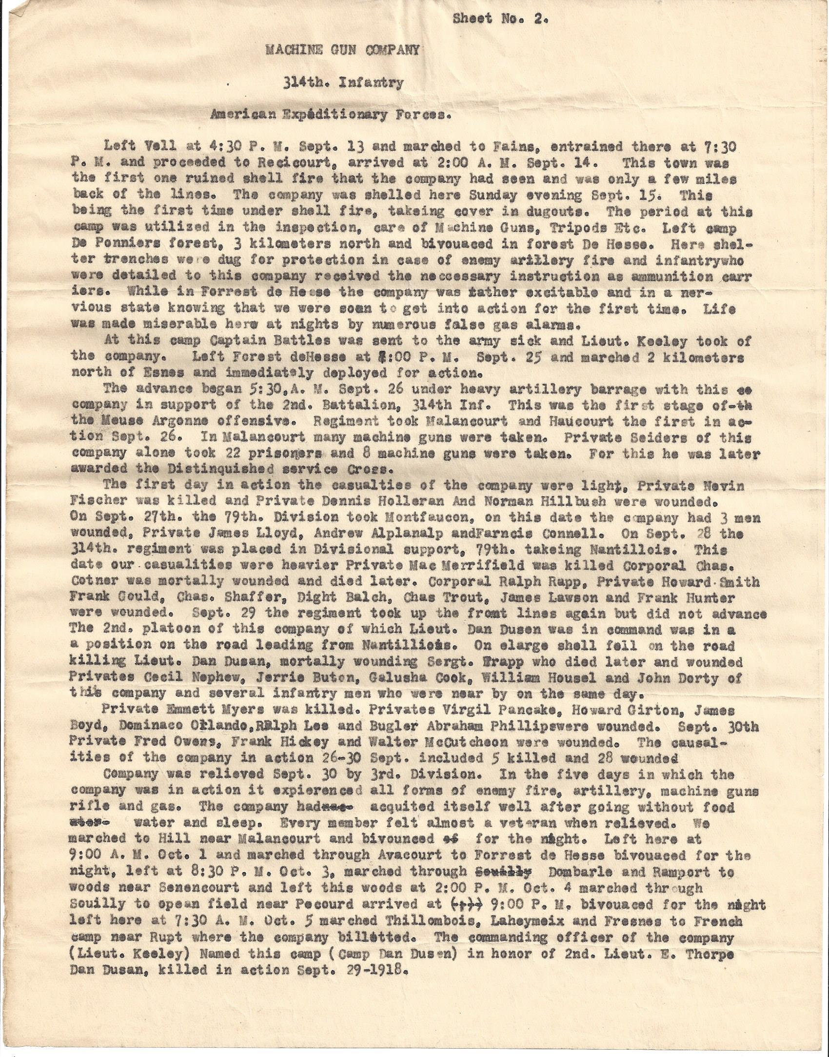 MG Company 314th Infantry AEF typewritten history page 2