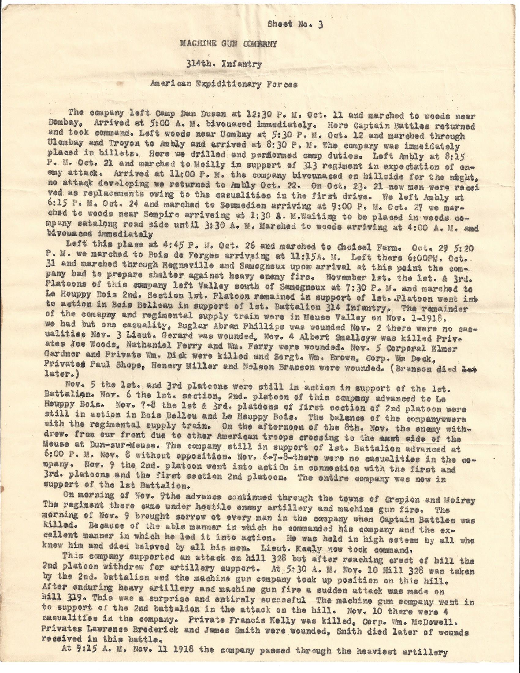 MG Company 314th Infantry AEF typewritten history page 3