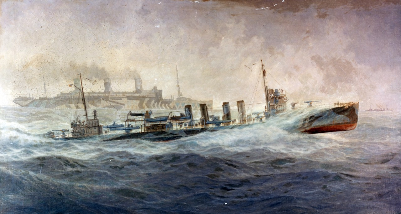 Title: A Fast Convoy / Description: Photo #: NH 42690-KN A Fast Convoy Oil painting by Burnell Poole, depicting USS Allen (Destroyer # 66) escorting USS Leviathan (ID # 1326) in the War Zone, 1918.  The original painting measures 60 x 33. Courtesy of the Naval Historical Foundation, Washington, D.C. U.S. Naval History and Heritage Command Photograph. Catalog #: NH 42690-KN