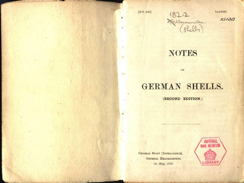 "Title page from the book ""Notes on German Shells"", second edition, May 1, 1918"