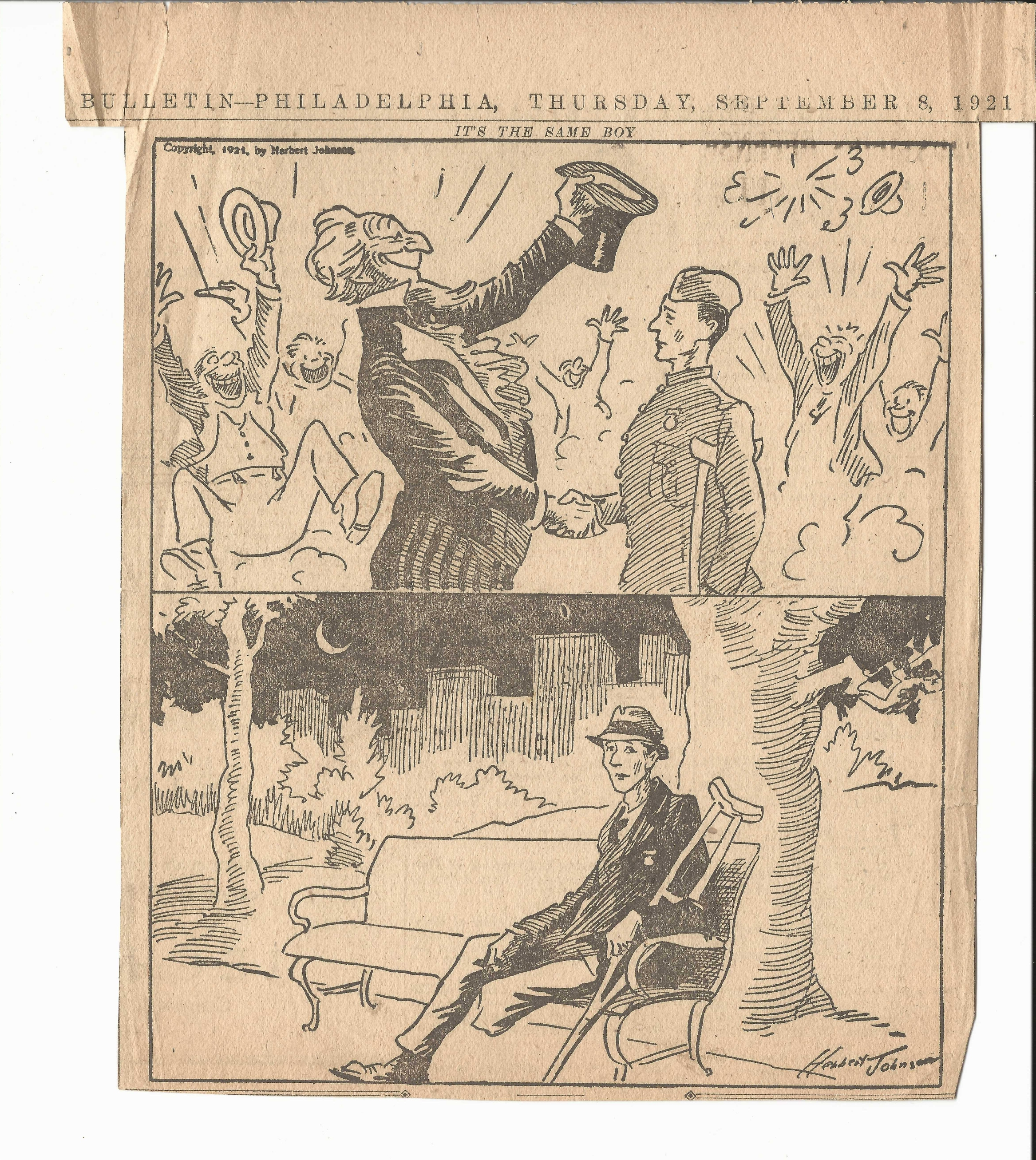 Philadelphia Bulletin September 8, 1921 Cartoon - 300 DPI