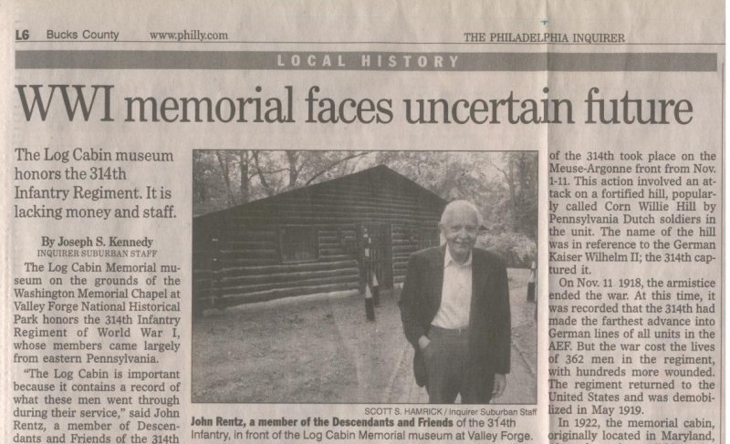 "Veterans of the 314th Infantry Regiment AEF - Philadelphia Inquirer article May 20, 2004 ""WWI Memorial Faces Uncertain Future"""