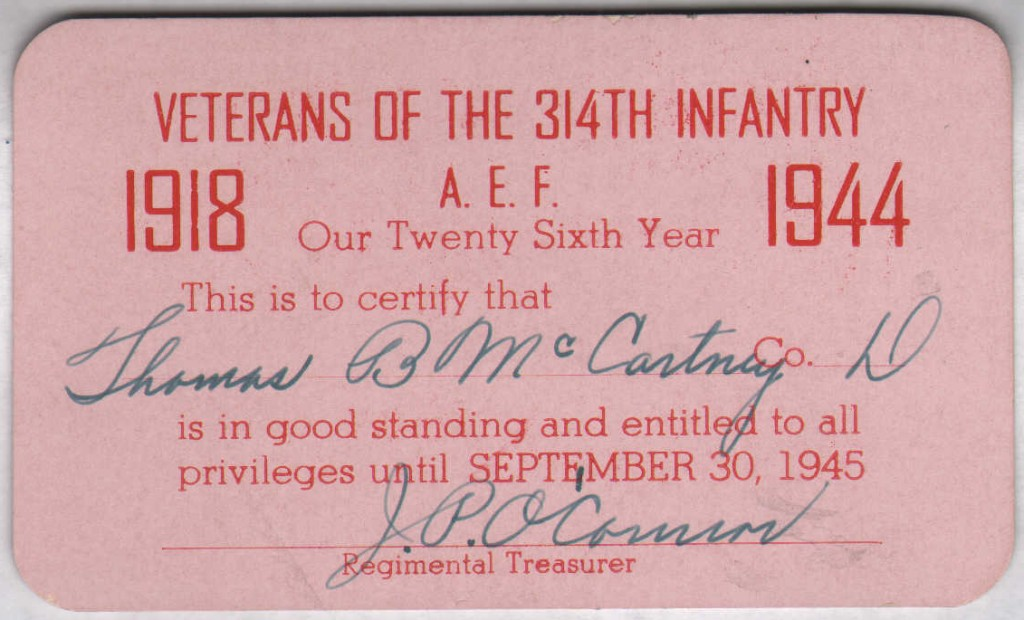 Veterans 314th Infantry Regiment - 1944 Membership Card - Thomas B. McCartney - Company D