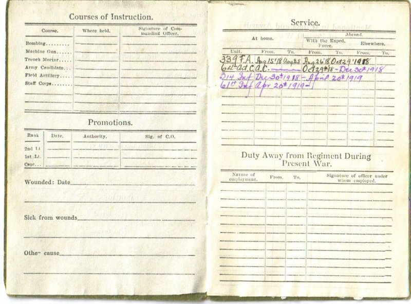 WWI Officers Record Book - First Lieutenant - Chaplain - 3