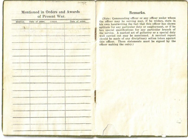 WWI Officers Record Book - First Lieutenant - Chaplain - 4