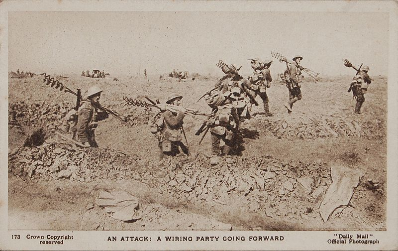 "Wikipedia - Wikimedia Commons - Daily Mail Postcard - An attack - A wiring party going forward -  World War I Daily Mail Official War Photograph, Series 22, No. 173, titled ""An attack: A wiring party going forward.  When new ground has been won, a wiring party speedily goes forward to protect it by wire entanglements."""