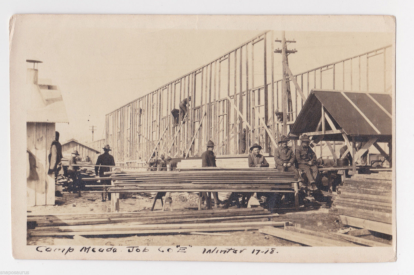 Camp Meade construction during winter 1917-1918
