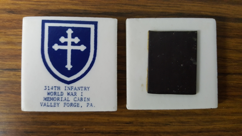Souvenier 314th Infantry A.E.F. ceramic (material) magnets - front and back