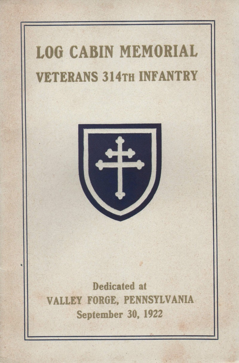 Log Cabin Memorial - Veterans 314th Infantry Regiment A.E.F. - Information Booklet - Front Cover - 800 Pixel Image