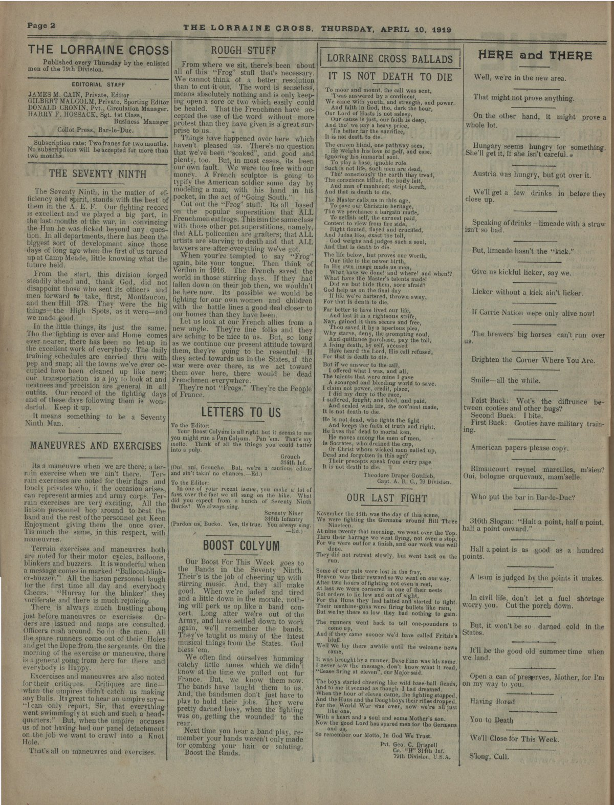 Lorraine Cross Newspaper Volume 1 Number 5 France April 10 1919 Page 2