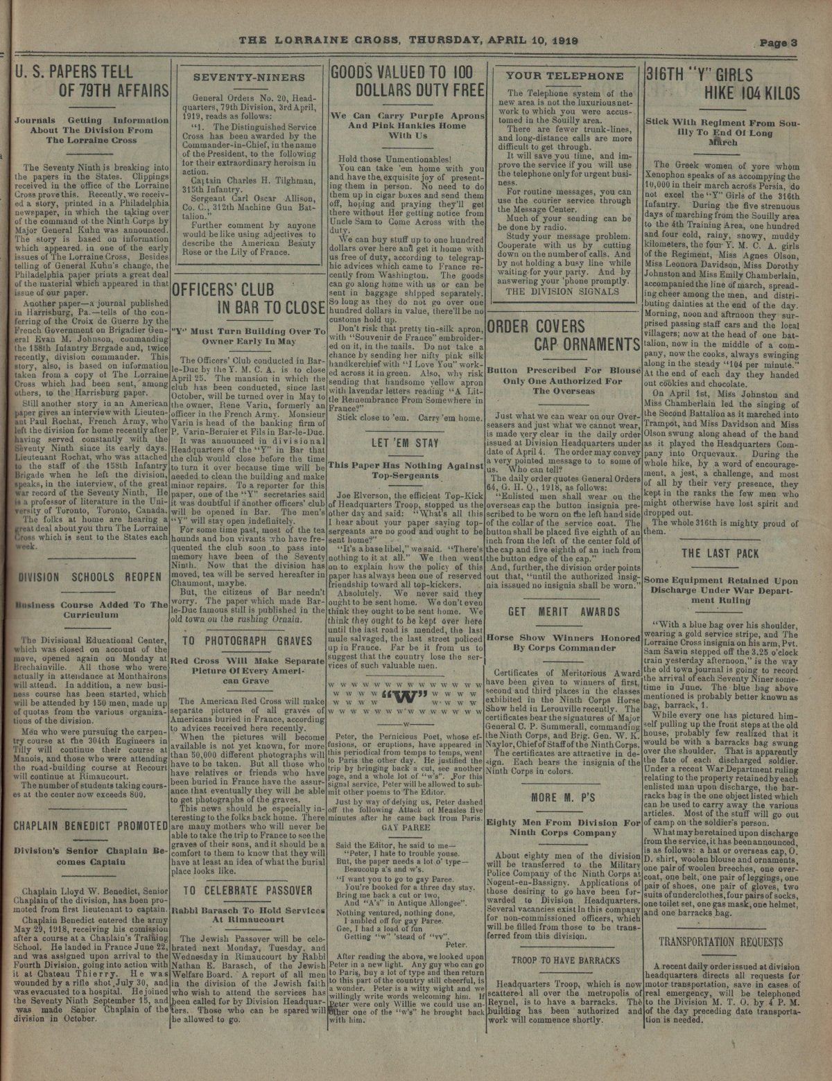 Lorraine Cross Newspaper Volume 1 Number 5 France April 10 1919 Page 3