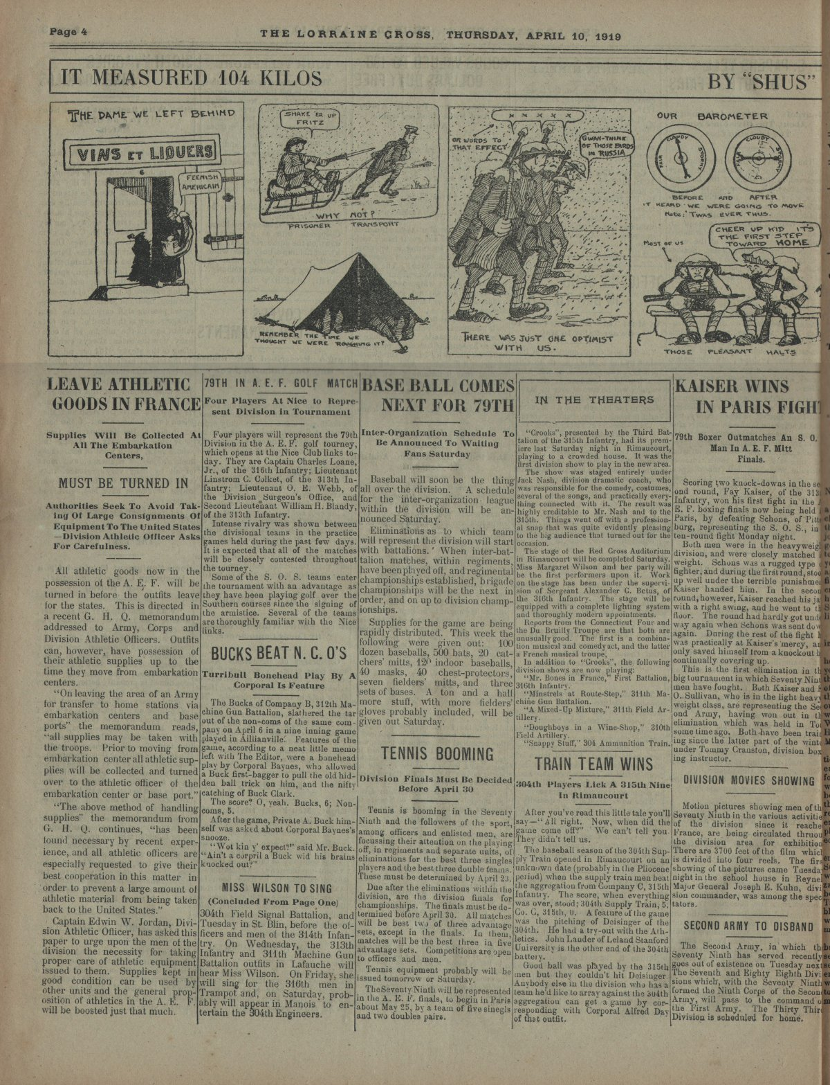 Lorraine Cross Newspaper Volume 1 Number 5 France April 10 1919 Page 4