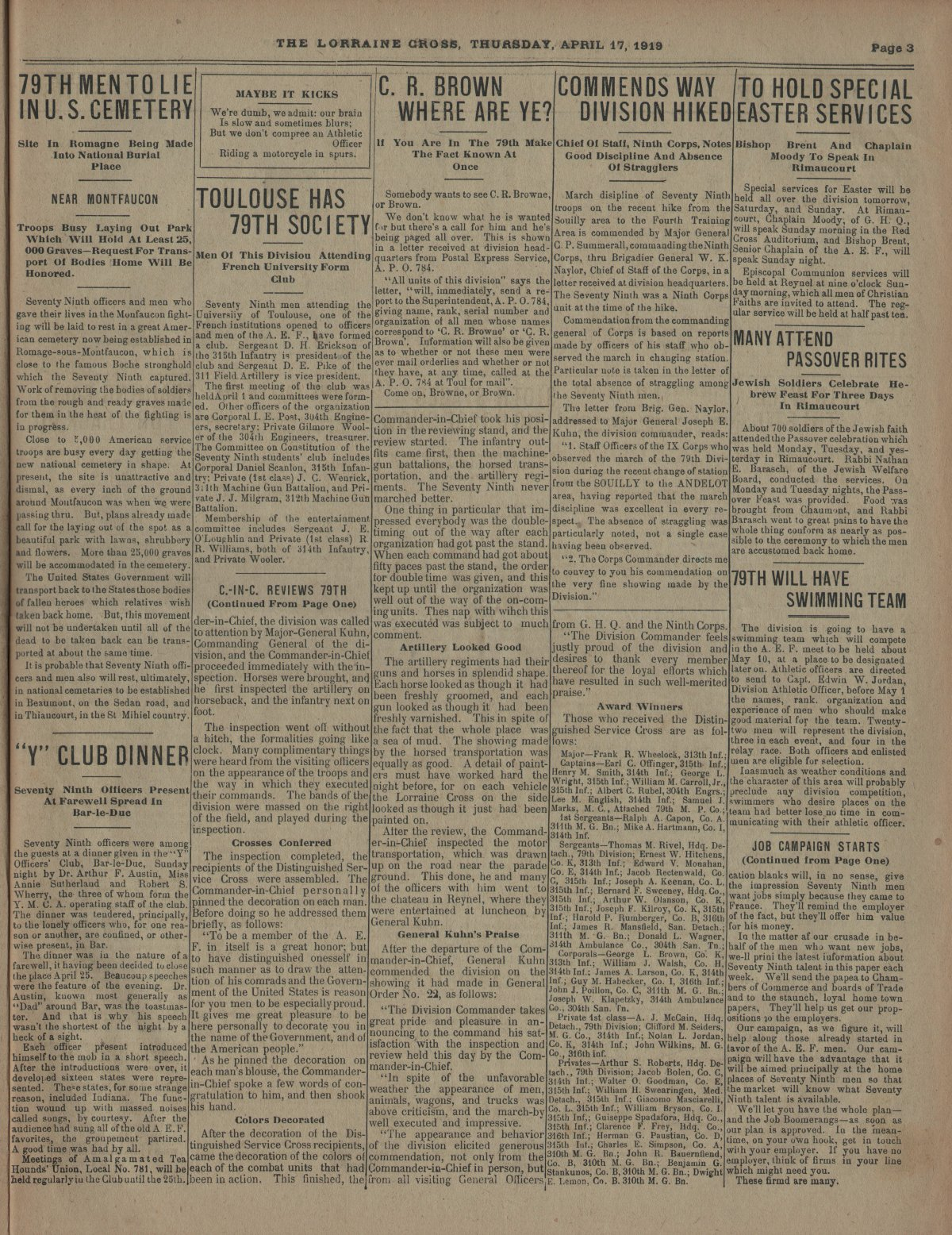 Lorraine Cross Newspaper Volume 1 Number 5 France April 17 1919 Page 3