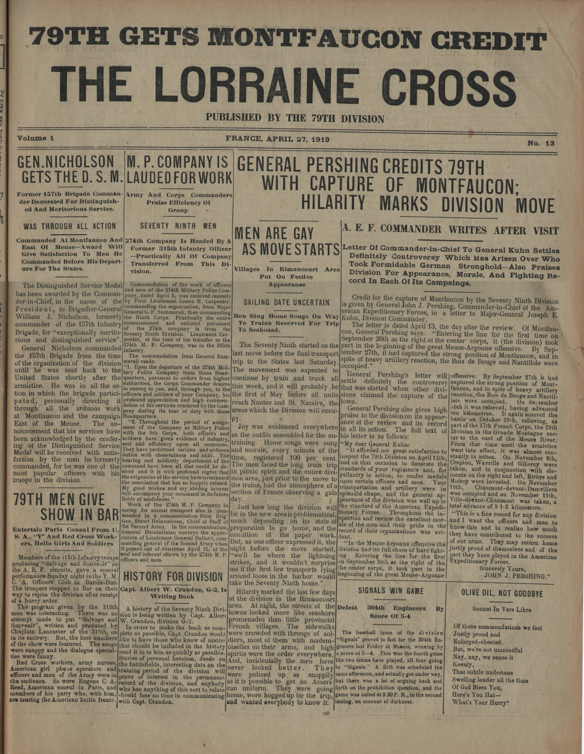 Lorraine Cross Newspaper Volume 1 Number 5 France April 27 1919 Page 1