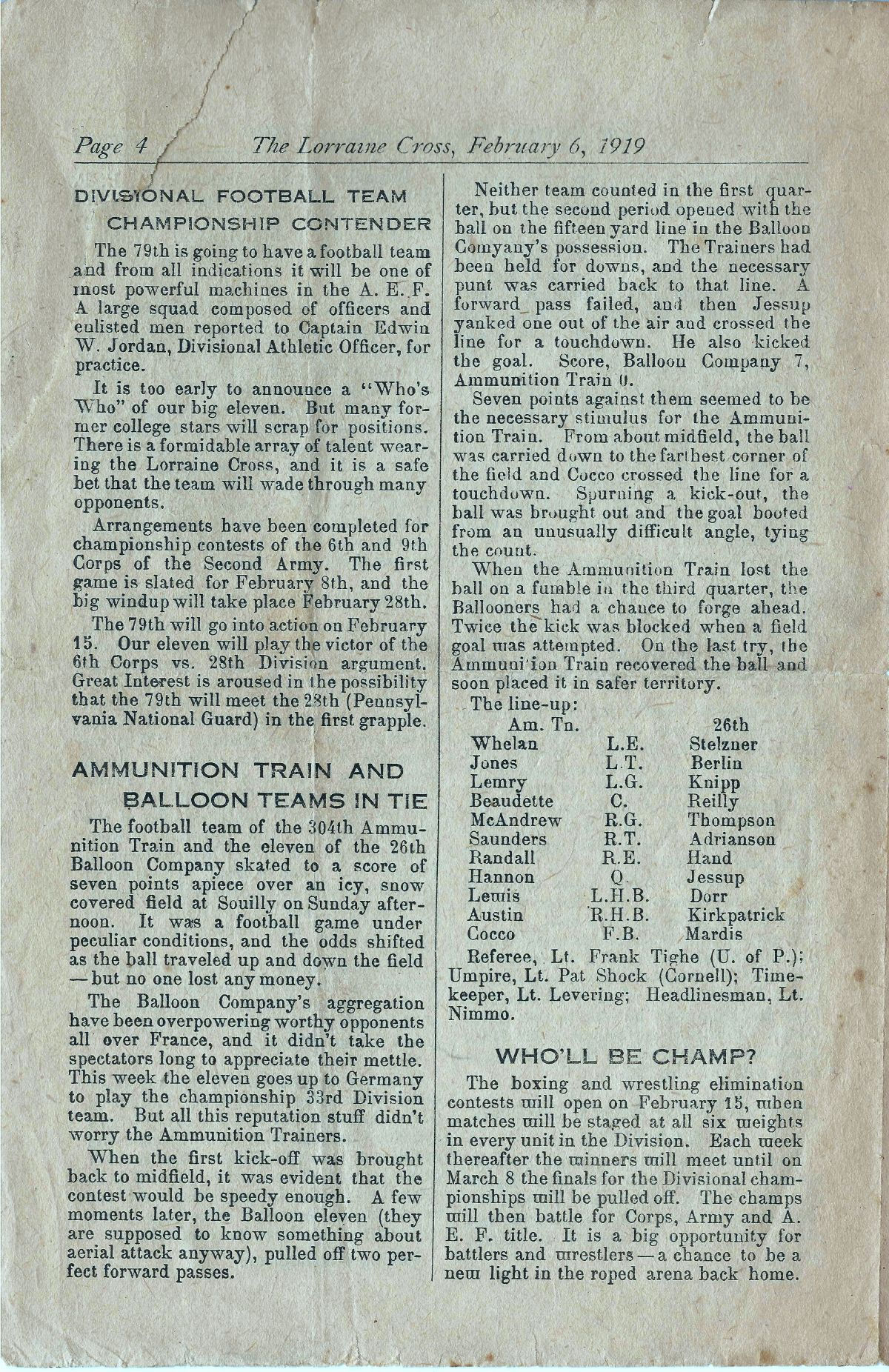 Lorraine Cross Newspaper Volume 1 Number 5 France February 6 1919 Page 4